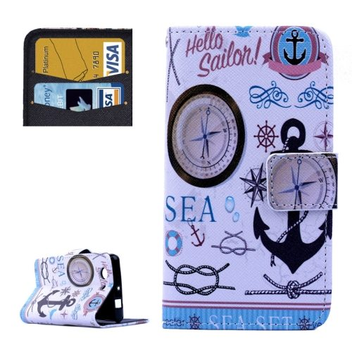 Cross Texture Flip Wallet Cover for Sony Xperia Z3 Compact/ Z3 mini with Card Slots (Compass Pattern)