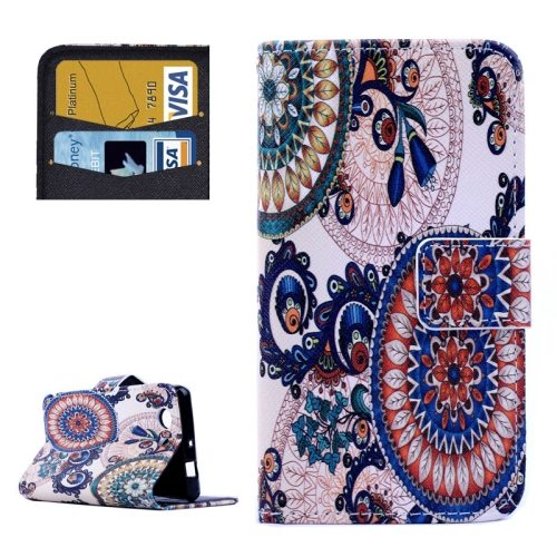 Cross Texture Flip Wallet Cover for Sony Xperia Z3 Compact/ Z3 mini with Card Slots (Colored Drawing Pattern)