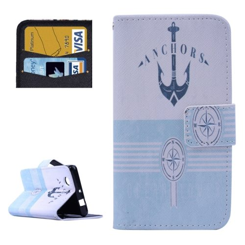 Cross Texture Flip Wallet Cover for Sony Xperia Z3 Compact/ Z3 mini with Card Slots (Anchor Pattern)