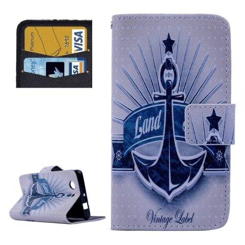 Cross Texture Flip Wallet Cover for Sony Xperia Z3 Compact/ Z3 mini with Card Slots (Anchor and Star Pattern)