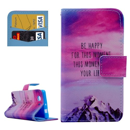 Cross Texture Flip Wallet Cover for Sony Xperia Z3 Compact/ Z3 mini with Card Slots (Red Sky and Snow Mountain Pattern)