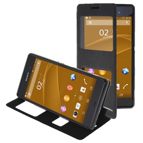 Oracle Texture Flip Leather Case for Sony Xperia Z3 with Holder & Caller ID Window(Black)
