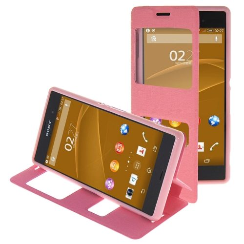 Oracle Texture Flip Leather Case for Sony Xperia Z3 with Holder & Caller ID Window(Pink)