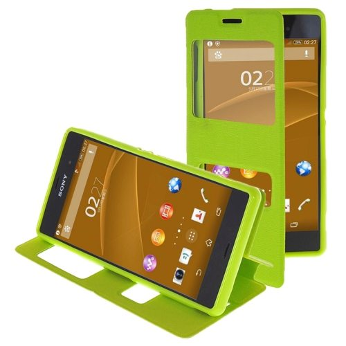 Oracle Texture Flip Leather Case for Sony Xperia Z3 with Holder & Caller ID Window(Green)
