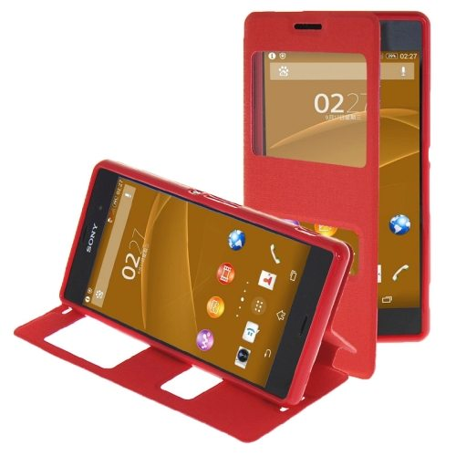 Oracle Texture Flip Leather Case for Sony Xperia Z3 with Holder & Caller ID Window(Red)