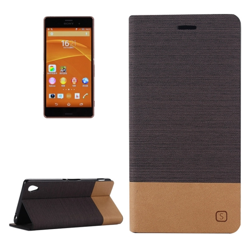 Canvas Leather Wallet Flip Stand Case for Sony Xperia Z3 with Card Slot & Stand (Coffee)