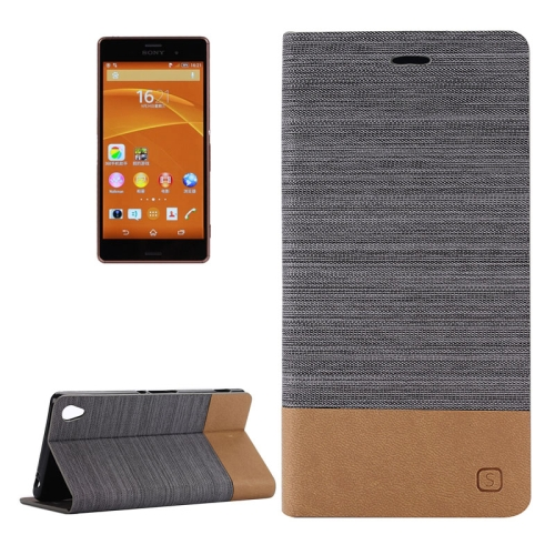 Canvas Leather Wallet Flip Stand Case for Sony Xperia Z3 with Card Slot & Stand (Dark Grey)