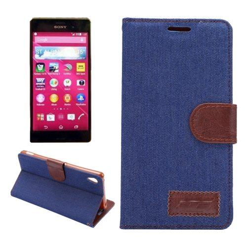 Denim Texture Horizontal Flip Magnetic Buckle Flip Leather Wallet Case for Sony Xperia Z4 (Dark Blue)