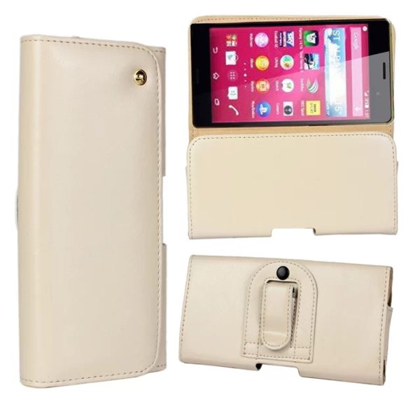 Crazy Horse Texture Flip Waist Belt Clip Holster Leather Case for Sony Xperia Z4 (White)