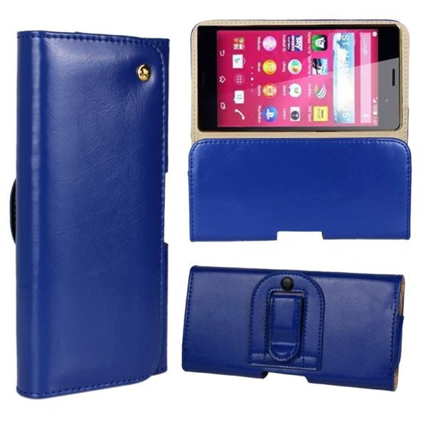 Crazy Horse Texture Flip Waist Belt Clip Holster Leather Case for Sony Xperia Z4 (Blue)