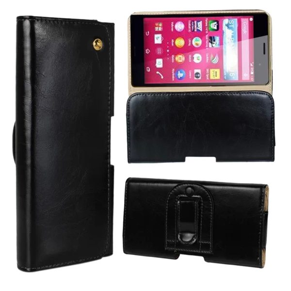 Crazy Horse Texture Flip Waist Belt Clip Holster Leather Case for Sony Xperia Z4 (Black)