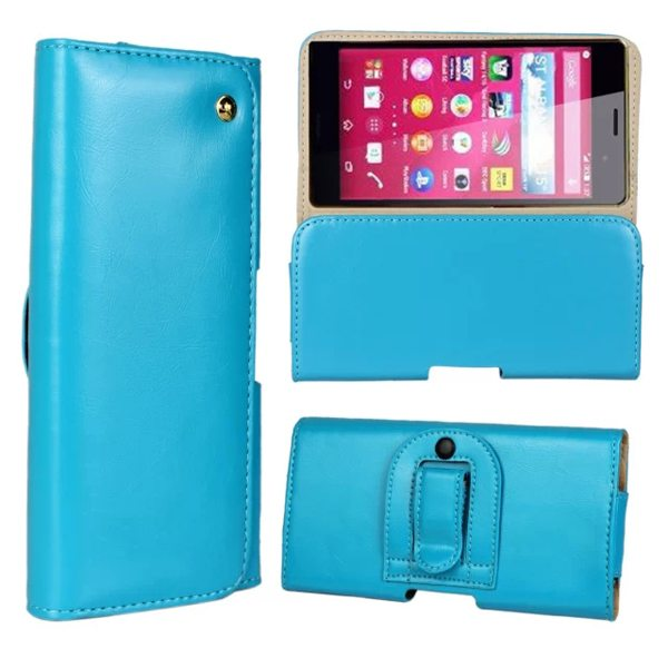 Crazy Horse Texture Flip Waist Belt Clip Holster Leather Case for Sony Xperia Z4 (Light Blue)