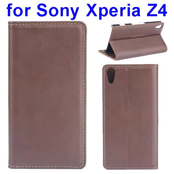 Wallet Style Flip Stand Genuine Leather Case for Sony Xperia Z4 with Card Slot (Brown)