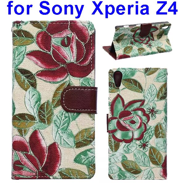 Flower Texture Flip Leather Case Cover for Sony Xperia Z4 with Card Slots (Green Leaves)