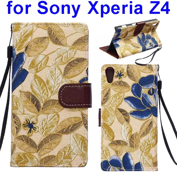 Flower Texture Flip Leather Case Cover for Sony Xperia Z4 with Card Slots (Gold Leaves)
