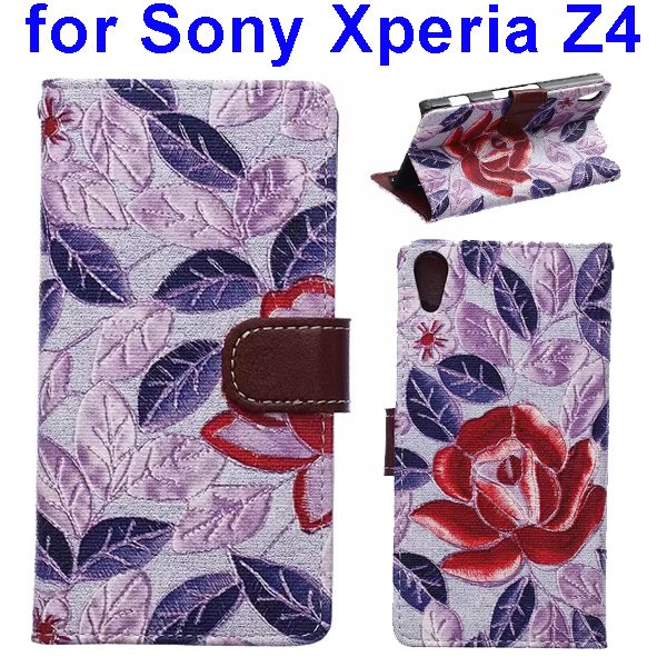 Flower Texture Flip Leather Case Cover for Sony Xperia Z4 with Card Slots (Red Leaves)