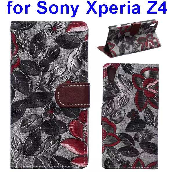 Flower Texture Flip Leather Case Cover for Sony Xperia Z4 with Card Slots (Black Leaves)