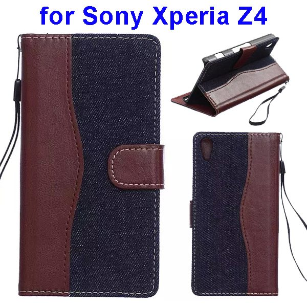 Denim Texture Mix Color Magnetic Wallet Leather Cover for Sony Xperia Z4 (Brown+Dark Blue)