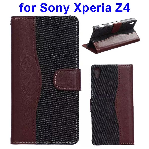 Denim Texture Mix Color Magnetic Wallet Leather Cover for Sony Xperia Z4 (Brown+Black)