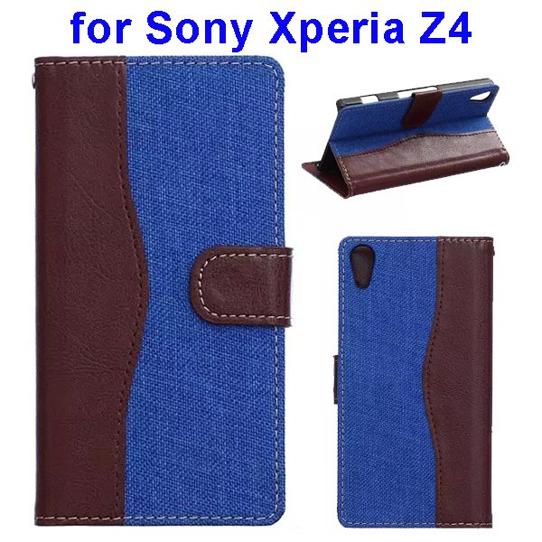 Denim Texture Mix Color Magnetic Wallet Leather Cover for Sony Xperia Z4 (Brown+Blue)