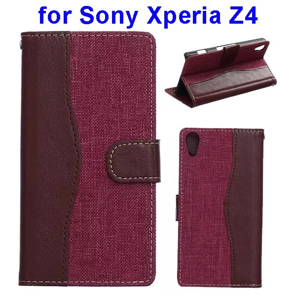 Denim Texture Mix Color Magnetic Wallet Leather Cover for Sony Xperia Z4 (Brown+Rose)