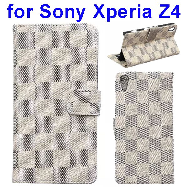 Grid Pattern Flip Magnetic Wallet Leather Case for Sony Xperia Z4 with Stand (Beige)