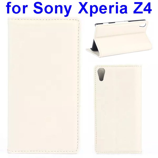 Crazy Horse Texture Flip Leather Case Cover for Sony Xperia Z4 with Card Slots (White)