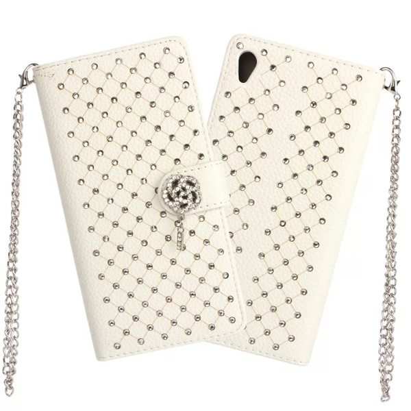 Diamond Bling Flower Magnetic Flip Wallet Leather Case for Sony Xperia Z4 with Chain (White)