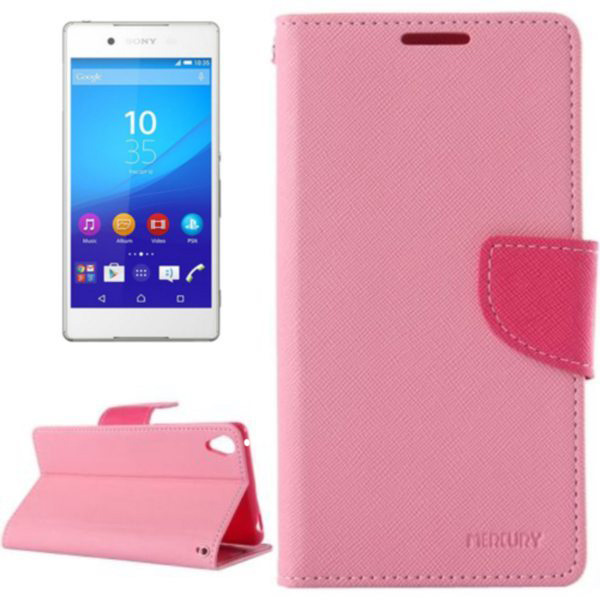 Mercury Cross Texture Mix Color Wallet Leather Case for Sony Xperia Z4 (Pink+Rose)