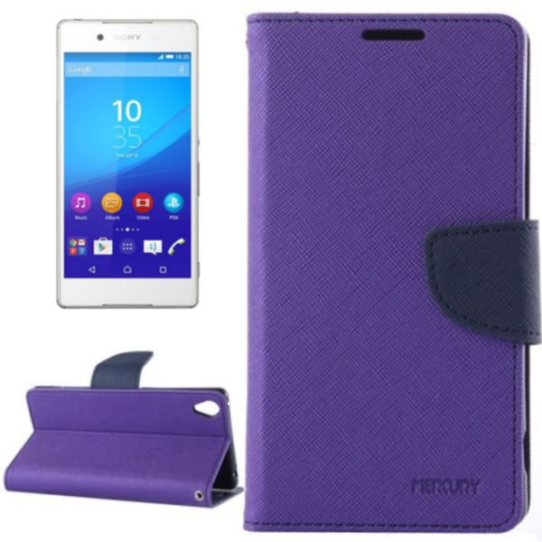 Mercury Cross Texture Mix Color Wallet Leather Case for Sony Xperia Z4 (Purple+Dark Blue)