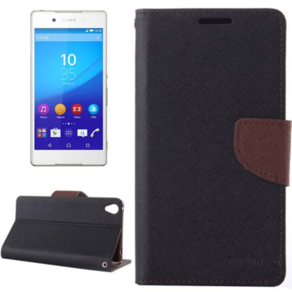 Mercury Cross Texture Mix Color Wallet Leather Case for Sony Xperia Z4 (Black+Brown)