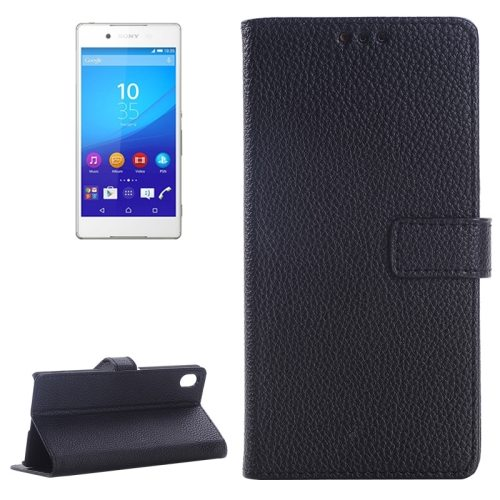 Litchi Texture Flip Leather Moblie Cover for Sony Xperia Z4 with Card Slots (Black)
