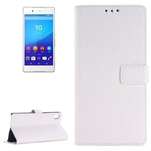 Litchi Texture Flip Leather Moblie Cover for Sony Xperia Z4 with Card Slots (White)