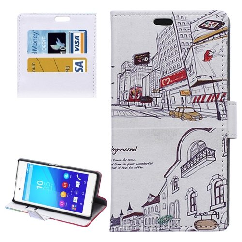 Street Background Pattern Horizontal Flip Magnetic Buckle Leather Case for Sony Xperia Z4 (Pattern 1)