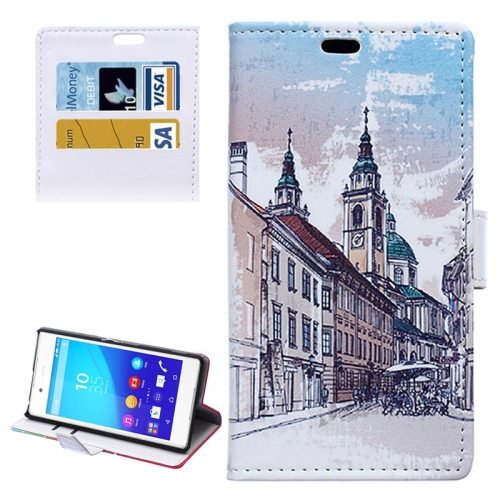 Street Background Pattern Horizontal Flip Magnetic Buckle Leather Case for Sony Xperia Z4 (Pattern 4)