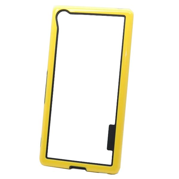 Dual Color 2 in 1 Pattern TPU and PC Bumper Frame Case for Sony Xperia Z4 (Yellow)