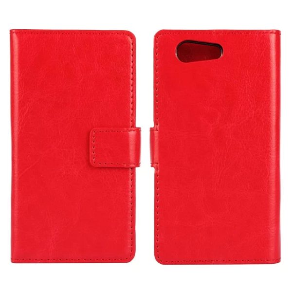 Crazy Horse Texture Flip Wallet Style Leather Case Cover for Sony Xperia Z4 with Card Slots (Red)
