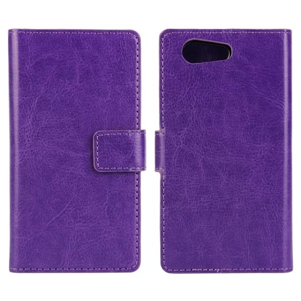 Crazy Horse Texture Flip Wallet Style Leather Case Cover for Sony Xperia Z4 with Card Slots (Purple)