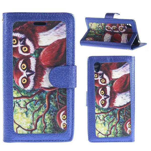 Creative Embossed Style Flip Stand Leather Wallet Case for Sony Xperia Z4 (Owl Pattern)