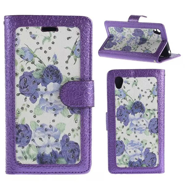 Creative Embossed Style Flip Stand Leather Wallet Case for Sony Xperia Z4 (Purple Flowers Pattern)