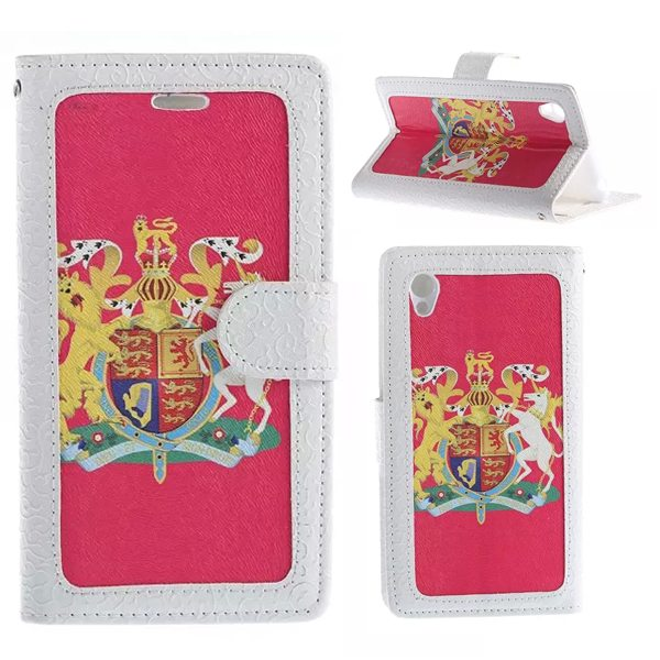Creative Embossed Style Flip Stand Leather Wallet Case for Sony Xperia Z4 (The British National Emblem Pattern)