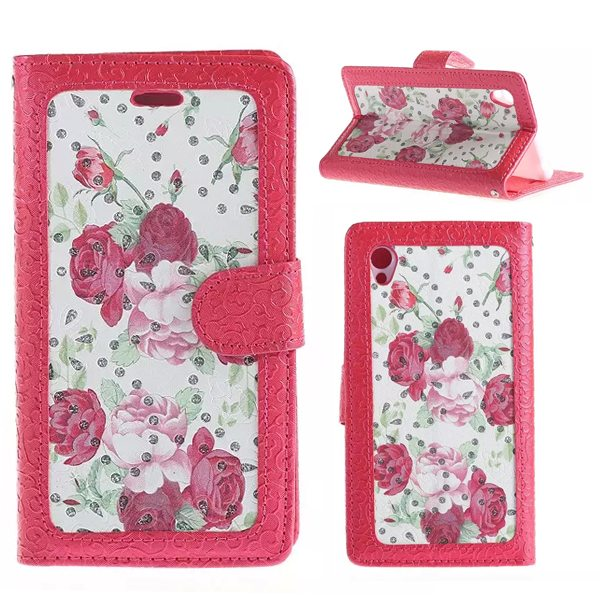 Creative Embossed Style Flip Stand Leather Wallet Case for Sony Xperia Z4 (Red Flowers Pattern)