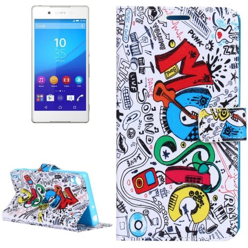 Wallet Style Flip Leather Case Cover for Sony Xperia Z4 with Holder & Card Slots (MUSIC Pattern)