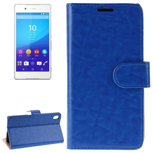 Crazy Horse Texture Horizontal Flip Solid Color Leather Case for Sony Xperia Z4 (Blue)