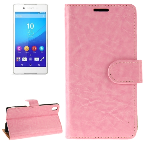 Crazy Horse Texture Horizontal Flip Solid Color Leather Case for Sony Xperia Z4 (Pink)