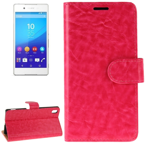 Crazy Horse Texture Horizontal Flip Solid Color Leather Case for Sony Xperia Z4 (Rose)