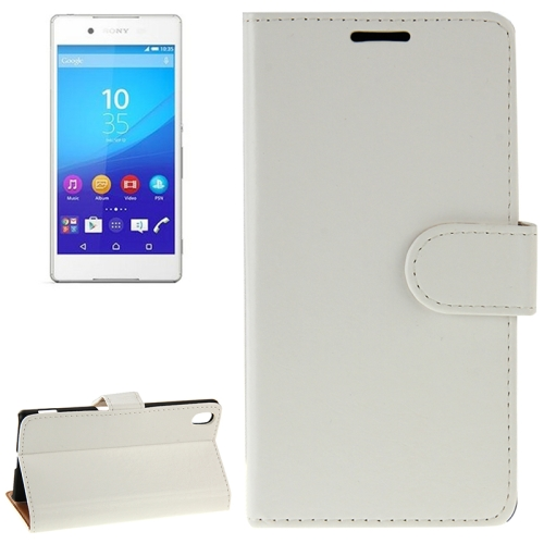 Crazy Horse Texture Horizontal Flip Solid Color Leather Case for Sony Xperia Z4 (White)