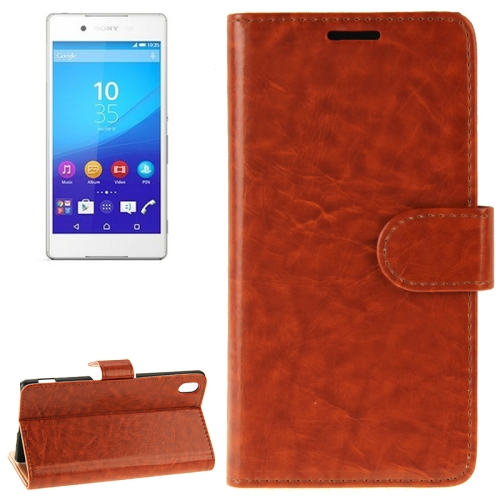 Crazy Horse Texture Horizontal Flip Solid Color Leather Case for Sony Xperia Z4 (Brown)