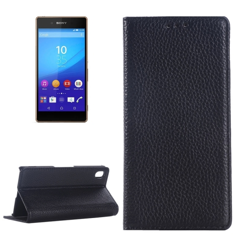 Litchi Texture Genuine Leather Case for Sony Xperia Z4 with Holder & Card Slot (Black)