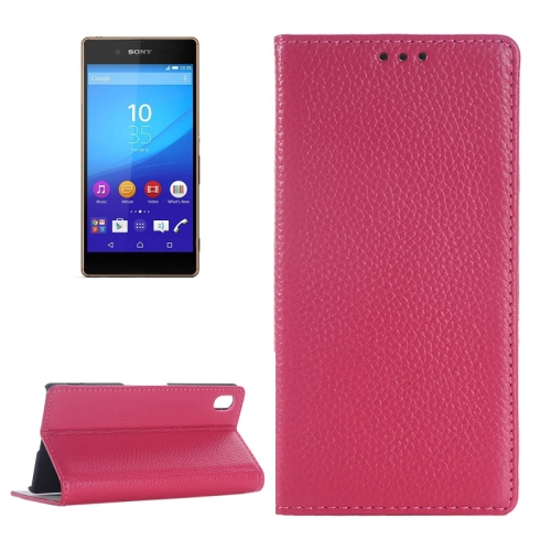 Litchi Texture Genuine Leather Case for Sony Xperia Z4 with Holder & Card Slot (Rose)
